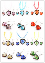Hot Sell Wholesale Bulk 6sets Murano Lampwork Glass Heart Pendant Silver P Beauty charm Necklace+Earring For women FREE SHIPPING