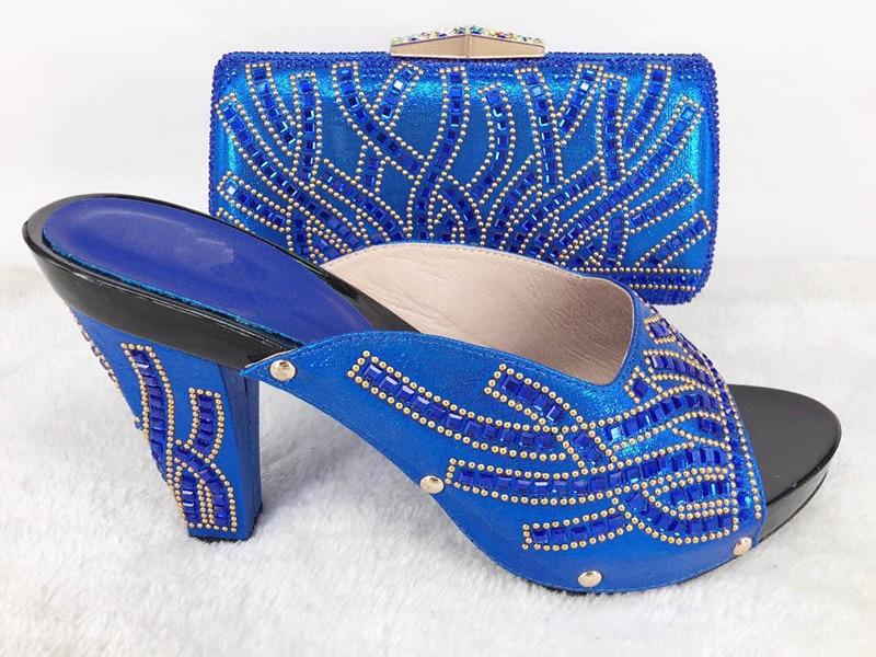 ФОТО royal blue Fashion Women Italian Matching Shoe And Bags Set With Rhinestones High Quality African Wedding Shoes And Bag lu1-45