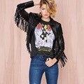 Дамы Кожаные Куртки 2016 Новых Осенью Модный бренд Куртка Мотоцикла Короткий Тонкий Дизайн Кисточкой Кожаная Куртка Женщин Черный