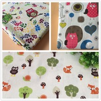 Free Shipping 155x95CM Lot Cute Colorful Owl Printed Cotton Fabric For Baby Patchwork Quilt Upholstery Fabric