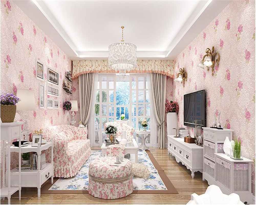 beibehang European style non-woven fabric 3d wallpaper bedroom living room clothing shop Rose Garden papel de parede wallpaper beibehang european luxury fine imitation embroidery non woven garden garden flowers 3d three dimensional relief wallpaper