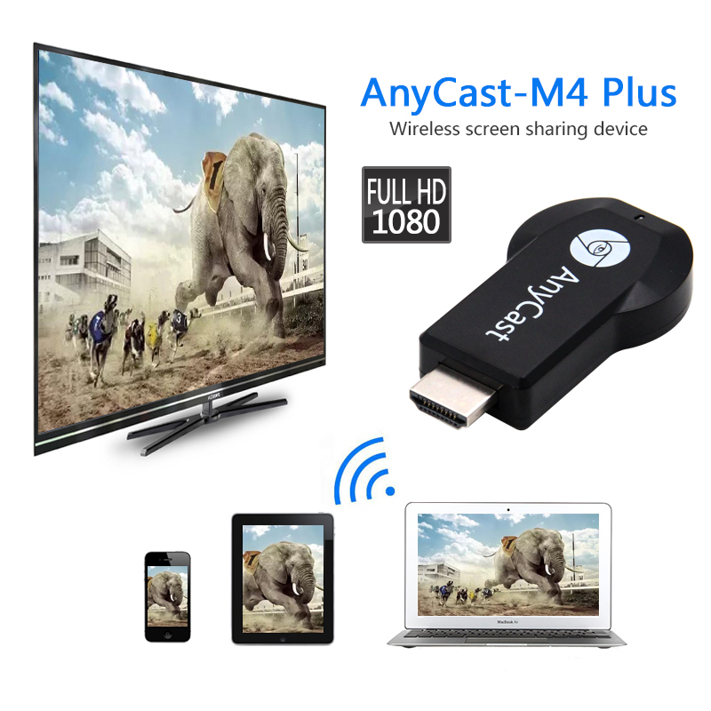 1pc Newest Mini PC Android Chromecast HDMI WiFi Dongle 2 mirroring multiple TV stick Adapter Anycast M4 plus Nickel plating