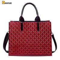 Geometric Diamond Lattice Women Bag Red Patent Pu Leather Totes Women S Handbags Famous Brand Women