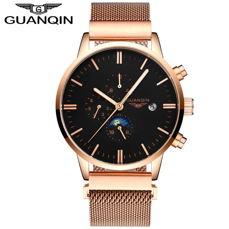 GUANQIN GJ16045 Luxury Original Brand Business Men Automatic Mechanical Watches Mens Gold Stainless Steel Strap Wristwatch watch luxury original brand business men automatic mechanical watches mens gold stainless steel strap wristwatch