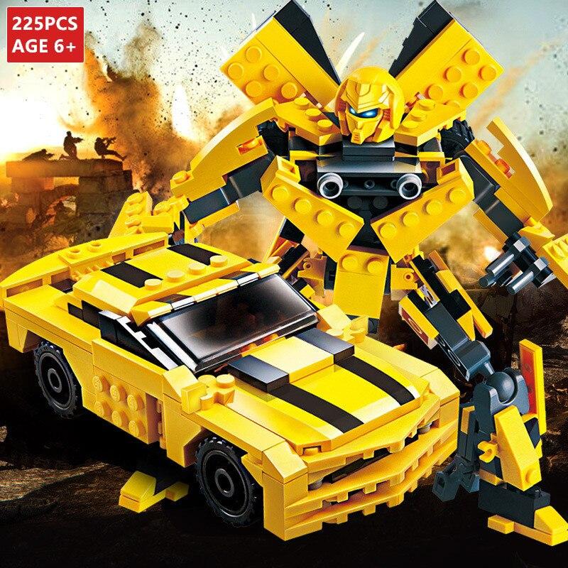225Pcs Carro Transformação Robô Amarelo Tijolos Conjuntos de Blocos de Construção Da Cidade LegoINGLs Starwars Criador Brinquedos Educativos Para Crianças