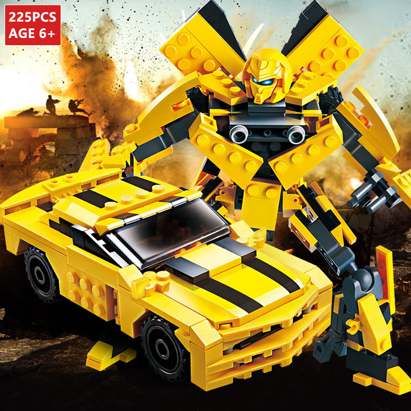 225Pcs Transformation Robot Yellow Car Bricks City Building Blocks Sets LegoINGLs Starwars Creator Educational Toys For Children