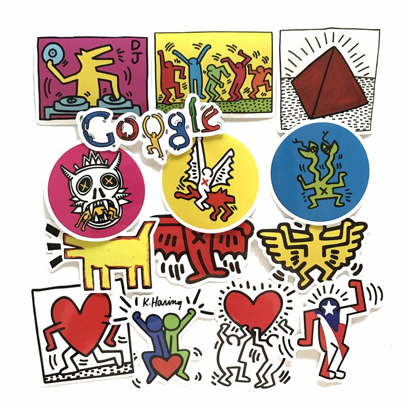 30pc lot brand keith haring google stickers for luggage suitcase skateboard motor car pegatinas. Black Bedroom Furniture Sets. Home Design Ideas