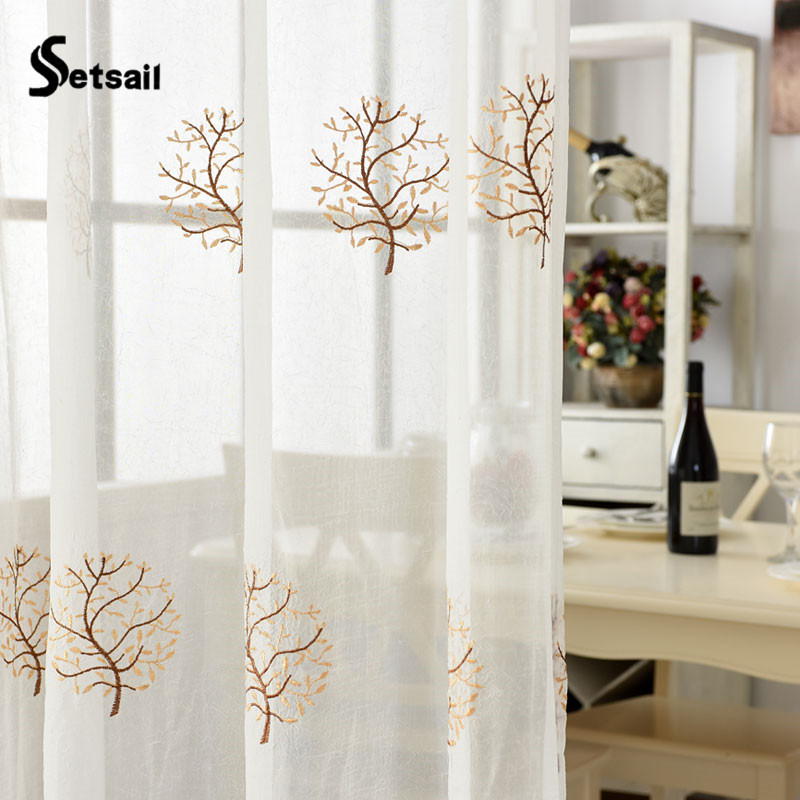 Setsail Curtain 1 PC White Lucky Tree Curtains For Living Room Free  Shipping Tulle For The