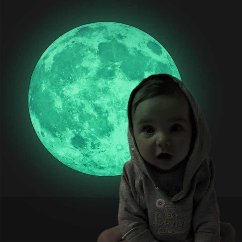 """30 ס""""מ 3D זוהר ירח זוהר קיר מדבקות ילדים חדרי מדבקות תינוק שינה Stiker בית תפאורה קיר ניאון מדבקות"""