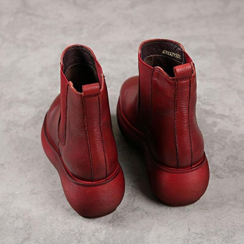 forme Wedge Chealsea Femmes Épais Confort Fond Cheville Talon Bootie Réel Bottes Plate Aiykazysdl Véritable En Chaussures Cuir dorCxBe