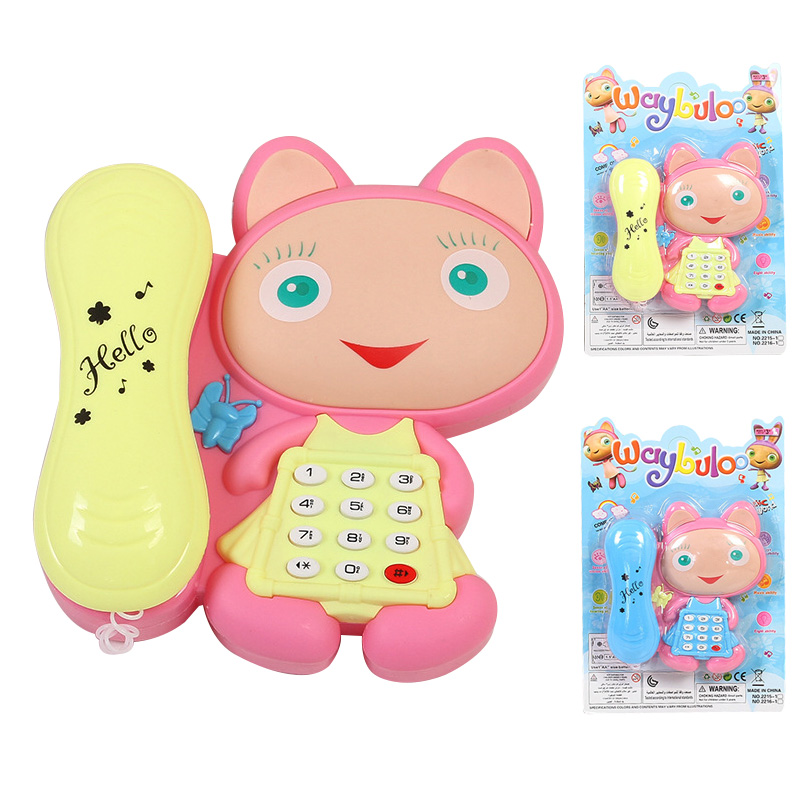 1 PC Cartoon Cat Talking Stories With LED Light Baby Machines Kids Phone Musical Toys Random Color
