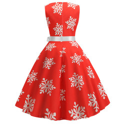 Enyuever w stylu Vintage Sukienka boże narodzenie Sukienka zielony Jurk Kerst Snowflake Print Vestidos Navidad Mujer Pin Up, na co dzień, na co dzień, boże narodzenie Sukienka 6