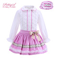 Pettigirl Pink Bontique Girl Clothing Set White Cotton Top With Lace And Skirt Headwear Kid Clothing For Christmas G-DMCS908-906