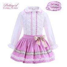 Pettigirl Rose Bontique Fille Vêtements Ensemble Blanc Coton Top Avec Dentelle Et Jupe Chapeaux Kid Vêtements Pour Noël G-DMCS908-906
