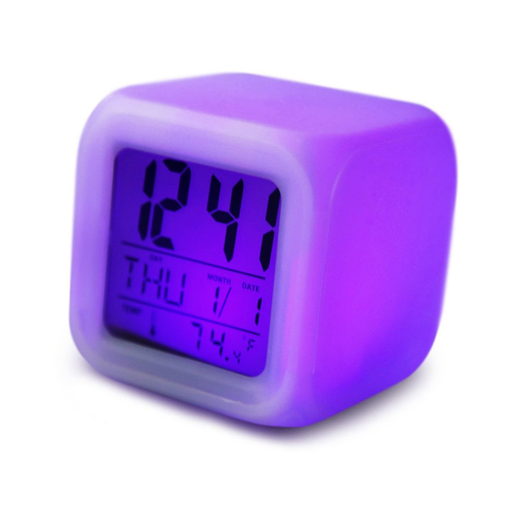 thermometernight glowing cube lcd clocks 2016 7 led colors. Black Bedroom Furniture Sets. Home Design Ideas