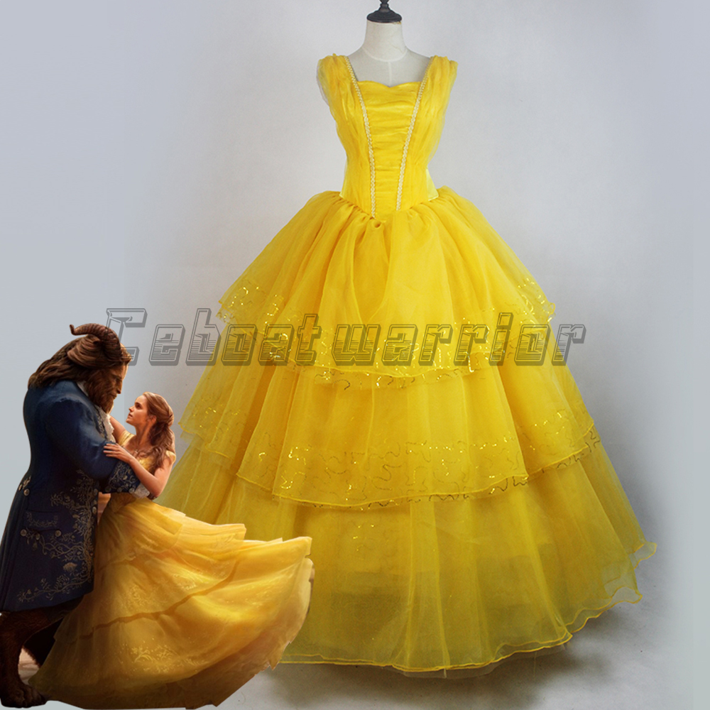 2017 New movie Beauty and the Beast Movie Princess Belle Emma Watson cosplay costume yellow dress adults Custom made