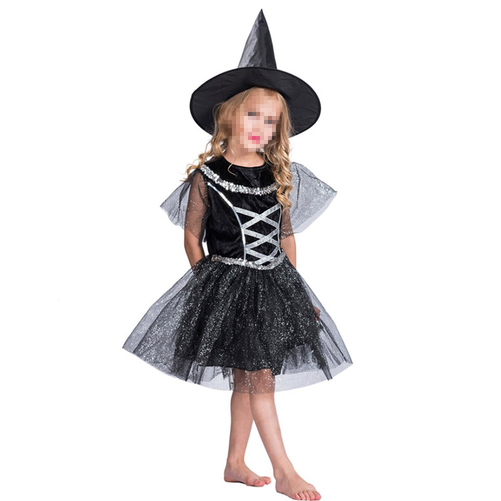 Funny Classic Halloween Children Witch Costume Performance ...
