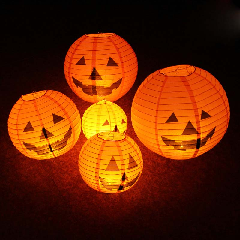 LED Paper Pumpkin Hanging Lantern Halloween Christmas Light  Party Decor Prop Supplies Foldable Lamp JA55