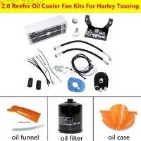 Chrome Ultra Fan Cool 2.0 Reefer Oil Cooler Assembly Adapter For Harley Electra Street Glide Road King Ultra Glide FLHR FLHRS