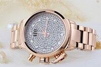 HYJ Brand Luxury Women Gold Plated Full Crystals Dress Watches European Popular 38MM Big Quartz Wristwatch