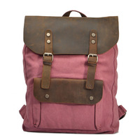 Casual Canvas Women Backpack Simple Cover Large Capacity Travelling Bag Black Coffee Blue Rose Red