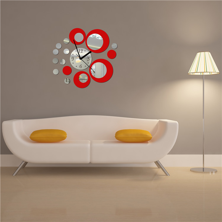 Acrylic Clock Design Mirror Effect Mural Wall Sticker Home Decor Craft Free Shipping