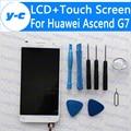 Para huawei ascend g7 lcd display + touch screen 100% novo g7-ul20 digitador substituição do painel de vidro para huawei g7 navio livre