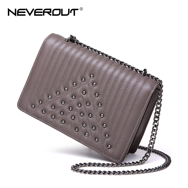 NEVEROUT Shoulder Bags Rivet Style Small Handbags for Women Crossbody Messenger Bags Genuine Leather Thread Chain Bags PursesNEVEROUT Shoulder Bags Rivet Style Small Handbags for Women Crossbody Messenger Bags Genuine Leather Thread Chain Bags Purses