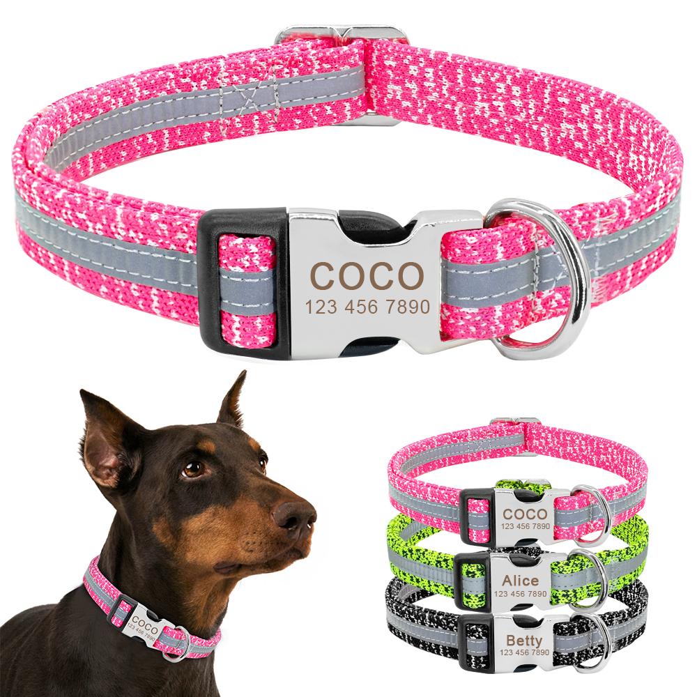 Collar de perro personalizado reflectante 3