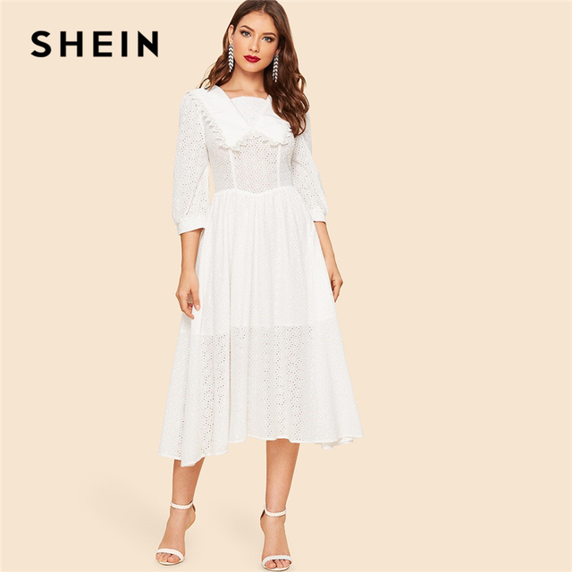 36ba141664 SHEIN White Vintage Collar Square Neck Lace Eyelet Solid Long Dress Women  2019 Spring Fit and Flare A Line Elegant Boho Dresses