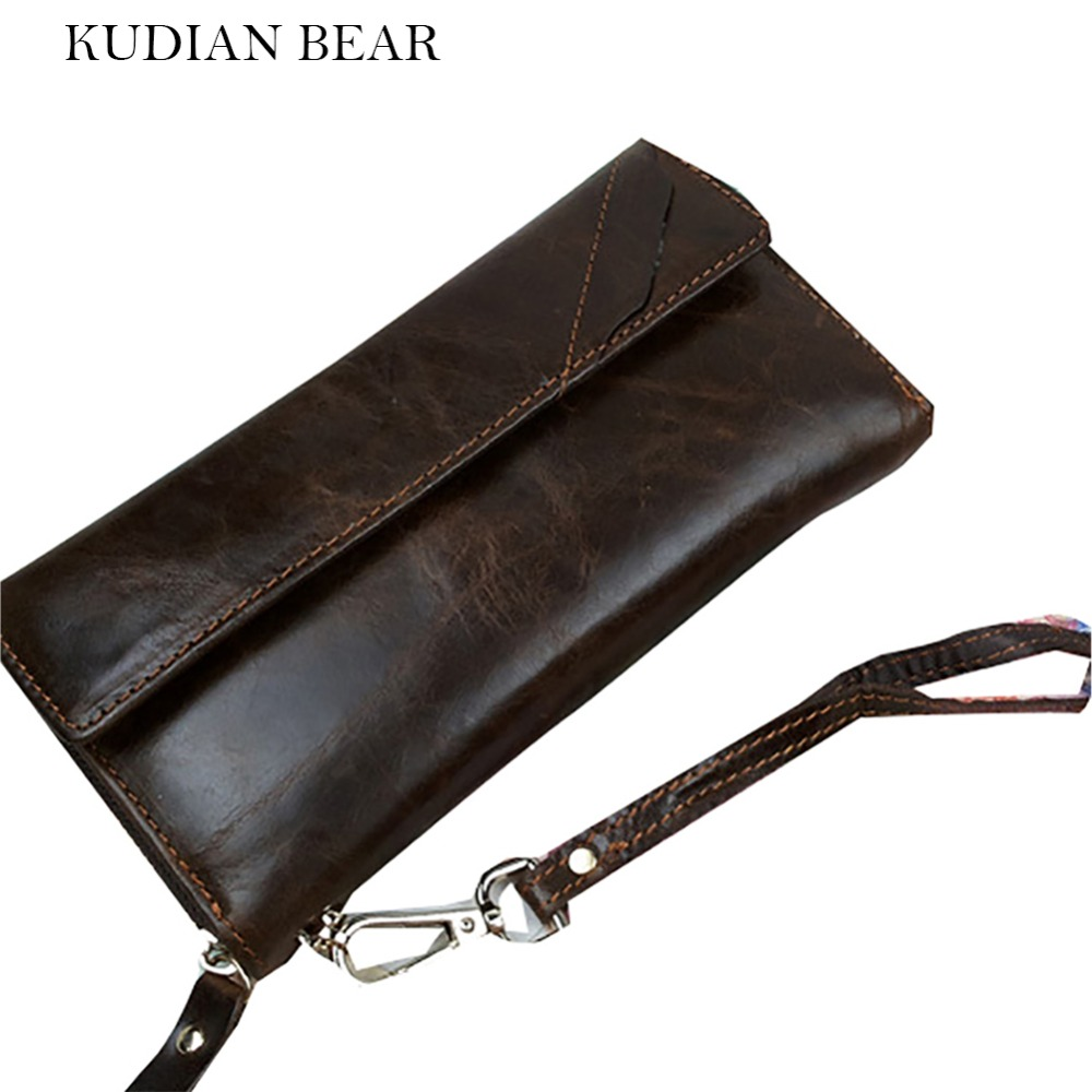 KUDIAN BEAR Leather Men Wallet Long Designer Men Clutch Bifold Vintage Handy Bag Large Capacity  Card Photo Holder--BIK023 PM49 zelda wallet bifold link faux leather dft 1857