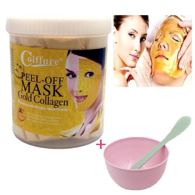 ZANABILI 24 K polvo de máscara de oro 300g cristal activo colágeno perla en polvo máscaras faciales Anti envejecimiento blanqueamiento + tazón máscara