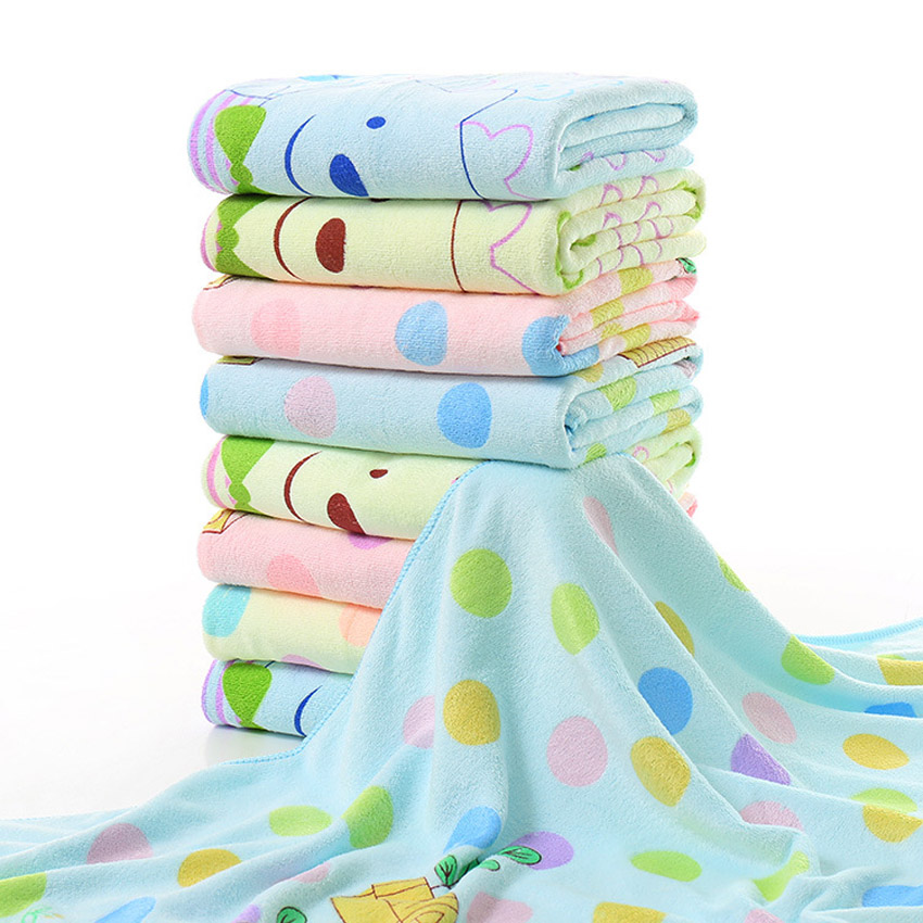 Cartoon Bath Towel Dots Bear Print Shower Towels Home