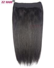 """Zzhair 20 """"51 см 100% бразильского волос 100 г флип в Пряди человеческих волос для наращивания 1 шт. Halo волос-клипы природные прямые волосы-remy"""