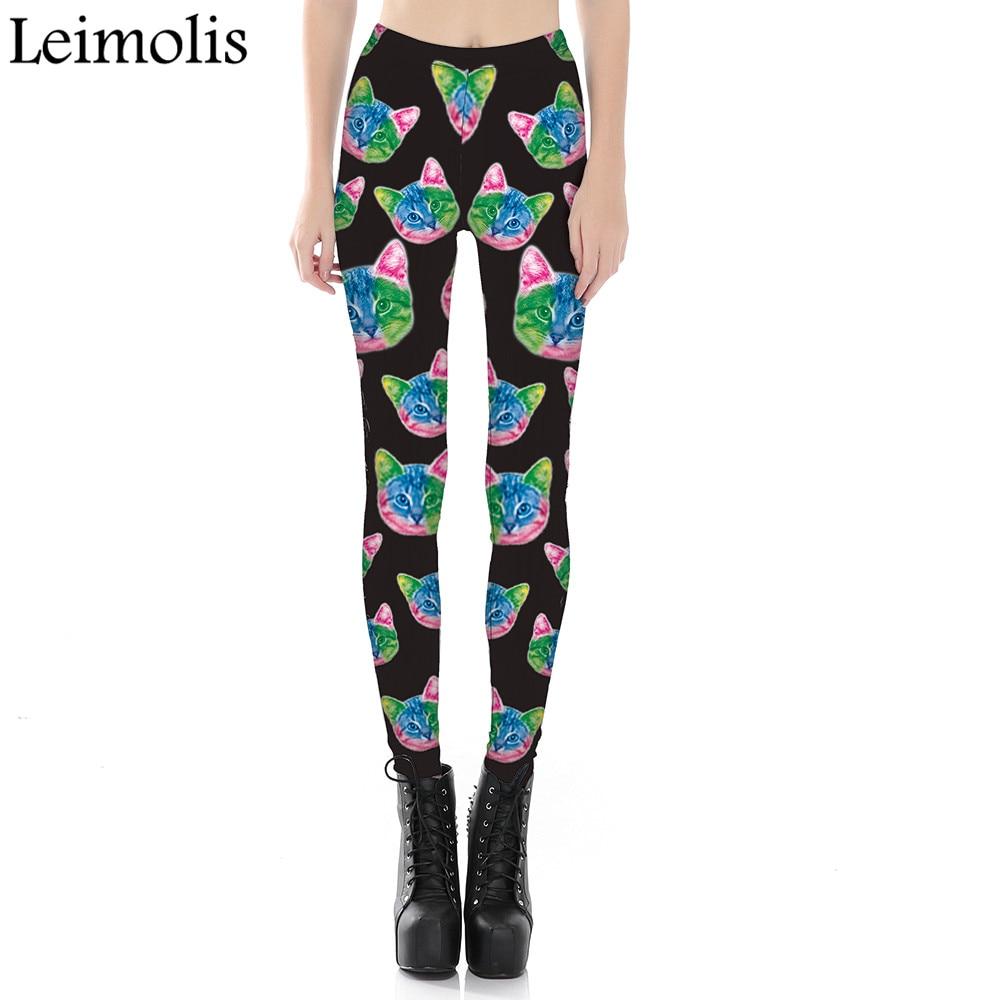 Leimolis 3D Printed Fitness Push Up Workout Leggings Women Gothic Galaxy Alien Cat Plus Size High Waist Punk Rock Pants