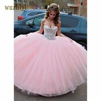 Wuzhiyi Elegant Strapless Prom Dresses 2017 Sleeveless Ball Gown Princess Style Tulle Prom Dress Custom Made