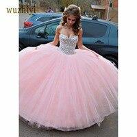 wuzhiyi Elegant strapless prom dresses 2017 sleeveless Ball Gown princess style Tulle prom dress Custom made prom dresses 2018