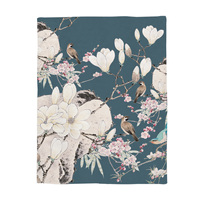 Japanese Printed blanket Chinese Painting, Magpie Calling on the Branch