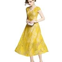 2018 Women Summer Dress Elegant Yellow Black Mesh Lace Leaves Print V Neck Mid Calf Casual Dress Female Tuniek Vestido De Renda
