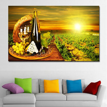 SELFLESSLY HD Printed canvas art grape red wine glass Oak barrels sunset painting on canvas wall pictures for living room(China)