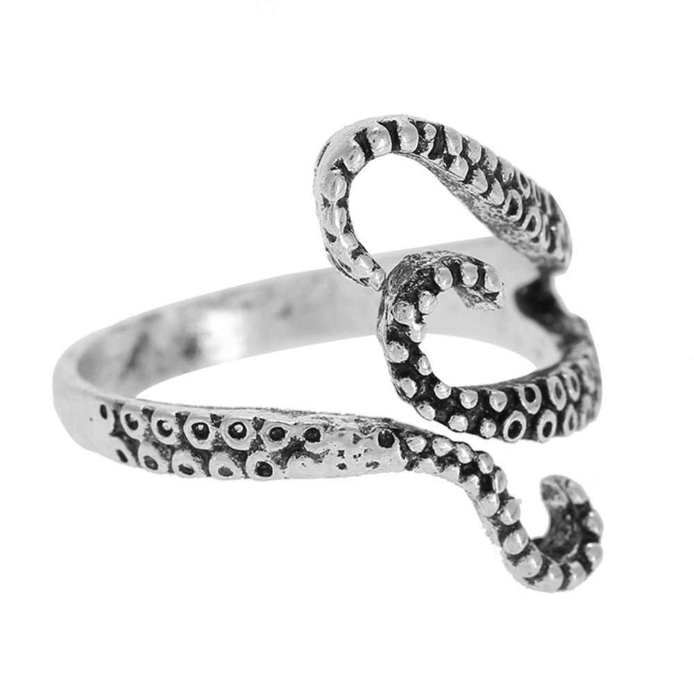 Vintage Punk Style Squid Shape Adjustable Alloy Ring Jewelry Unisex Zinc Alloy Finger Rings Women Men Party 2018 New Arrival