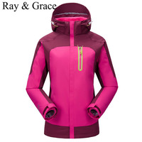 Outdoor Waterproof Sports Outerwear Women Windproof Climbing Hiking Thick Warm Clothes Skiing Jacket Coats Winter Jacket 3 in 1
