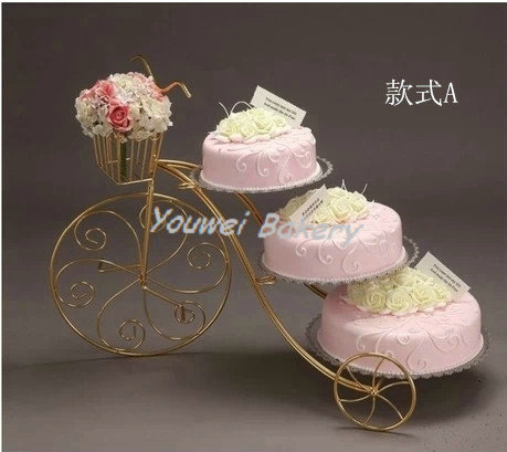 Free Shipping New Design European Creative Bicycle Iron Cake Stand