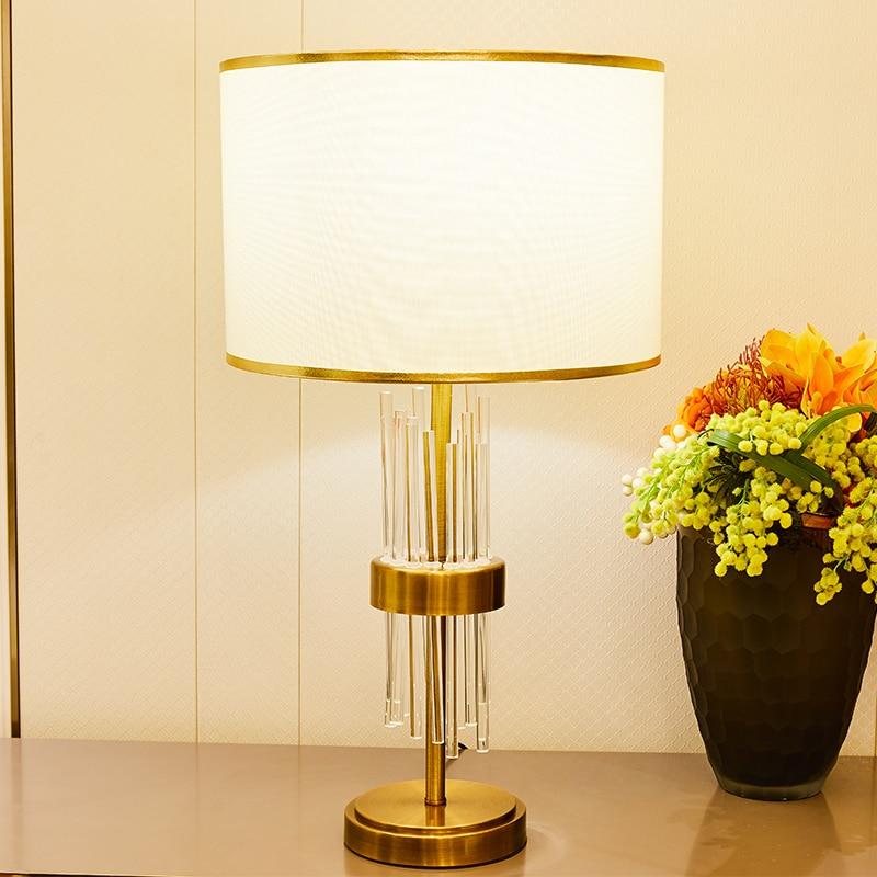 Transparent Glass Strip Table Lamps For Bedroom Living Room Golden Color Bedside 110v 220v Led