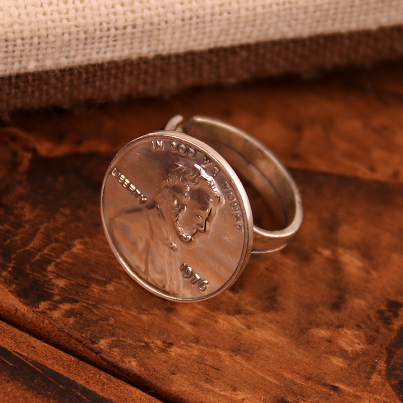 S925 Sterling Silver Ring men's women's Day Korean fashion personality coin index finger ring lovers Ring Jewelry floral personality rotating silver index finger ring s925 silver turning ring