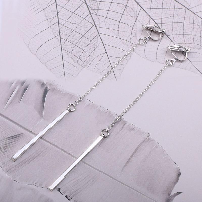 Minimalism Clip On Örhängen För Kvinnor & Tjej Mode Metall Kolumn - Märkessmycken - Foto 2