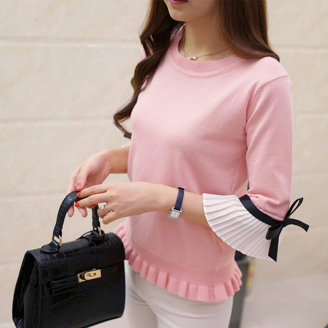 2017 spring ruffle hem chiffon flare sleeve bow sweater thin pullover sweater female