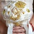 Ramos de novia artificiales de oro pesado cristal de seda flores de la boda ramos de novia ramo de novia dama de honor niña de las flores joyas
