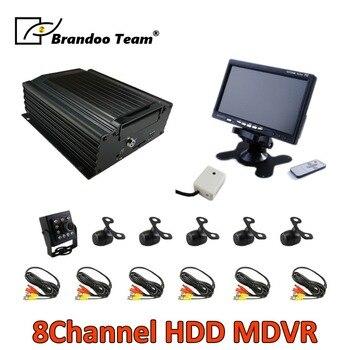 8CH 960 H kits DVR com câmeras e 7 6 polegada monitor de ÔNIBUS para ônibus, trem, van, caminhão usado, Frete grátis, apoio Russo/Inglês menu