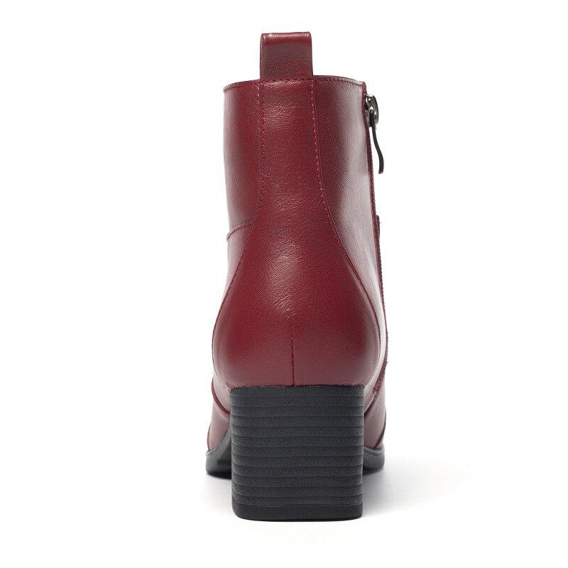 Bout Femmes De Black Arrondi Red Bottes Vache En Cuir D'hiver Pour Talon Med grey Bottines wine Chaussures Femme Confortable Carré Univers G342 qPIBwI